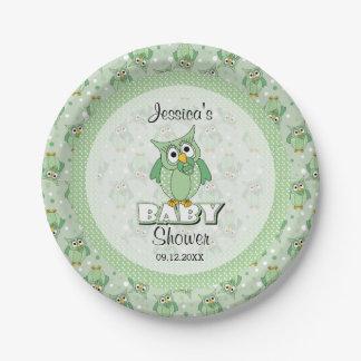 Green Polka Dot Owl Baby Shower Theme Paper Plate