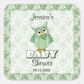 Green Polka Dot Owl Baby Shower Theme Square Sticker