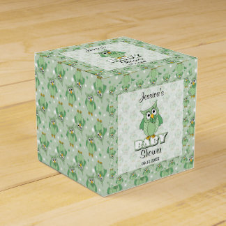 Green Polka Dot Owl Baby Shower Theme Wedding Favor Box