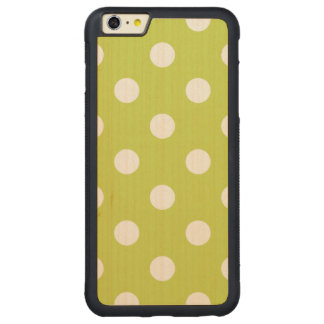 Green Polka Dot Pattern Carved Maple iPhone 6 Plus Bumper Case