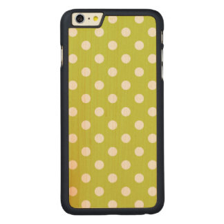 Green Polka Dot Pattern Carved Maple iPhone 6 Plus Case