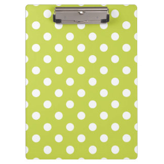 Green Polka Dot Pattern Clipboard