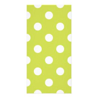 Green Polka Dot Pattern Custom Photo Card