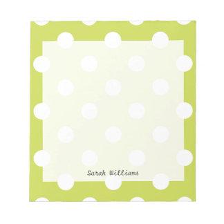 Green Polka Dot Pattern Notepad