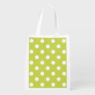 Green Polka Dot Pattern Reusable Grocery Bag