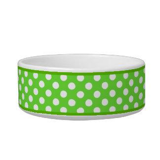 Green Polka Dot Pattern Small Ceramic Dog Bowl