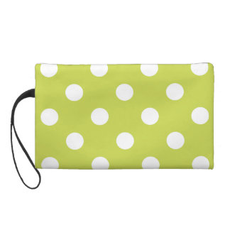 Green Polka Dot Pattern Wristlet