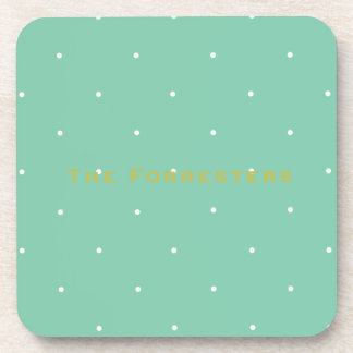 Green Polka Dot Personalized Drink Coasters (6)