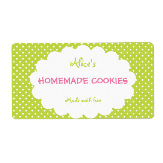 Green Polka Dot Personalized Homemade Cookies Shipping Label