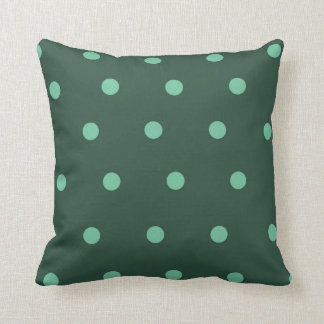 Green polka dot throw pillow
