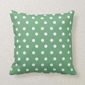 Green Polka Dot Throw Pillow/ Cushion