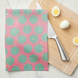Green Polka Dots and Gold Stars on a Red Kitchen Kitchen Towel