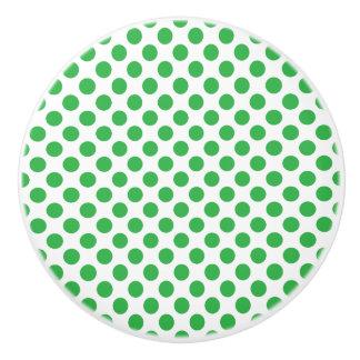 Green Polka Dots Ceramic Knob