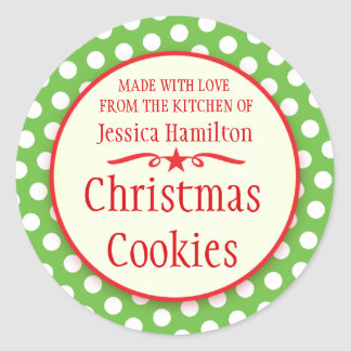 Green polka dots cookie swap baking gift stickers