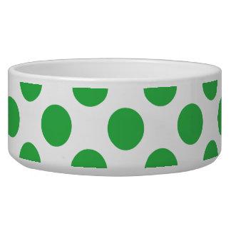 Green Polka Dots Dog Bowls