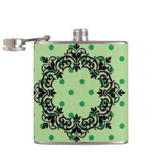 Green Polka Dots Hip Flask
