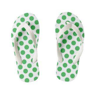 Green Polka Dots Kid's Flip Flops