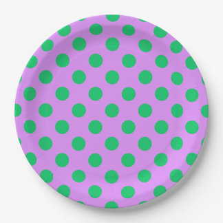 Green polka dots on lilac 9 inch paper plate
