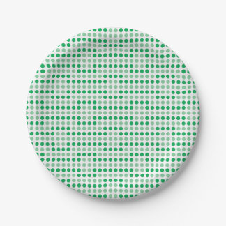Green polka dots pattern 7 inch paper plate