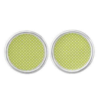 Green Polka Dots Pattern Cuff Links