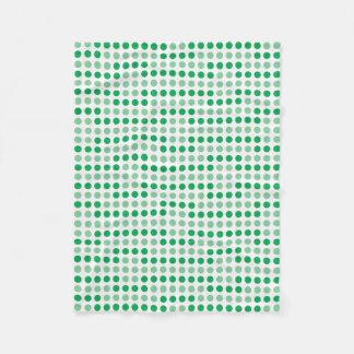 Green polka dots pattern fleece blanket