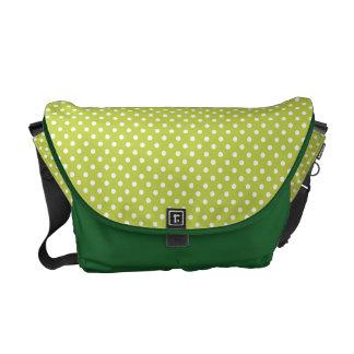 Green Polka Dots Pattern Messenger Bags