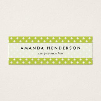 Green Polka Dots Pattern Mini Business Card
