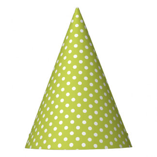 Green Polka Dots Pattern Party Hat