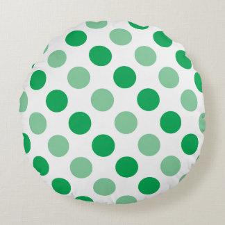 Green polka dots pattern round pillow