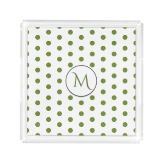 Green Polka Dots Pattern with Monogram Acrylic Tray