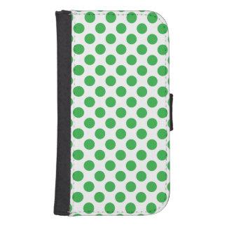 Green Polka Dots Samsung S4 Wallet Case