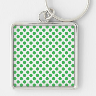 Green Polka Dots Silver-Colored Square Keychain