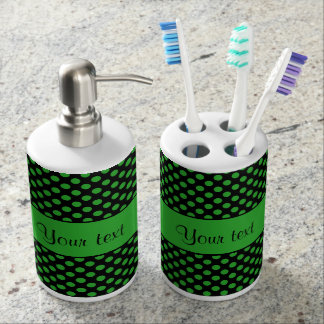 Green Polka Dots Soap Dispenser And Toothbrush Holder