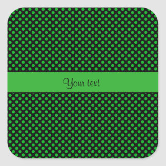 Green Polka Dots Square Sticker