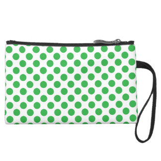 Green Polka Dots Suede Wristlet