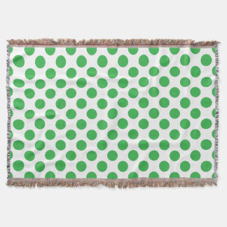 Green Polka Dots Throw Blanket