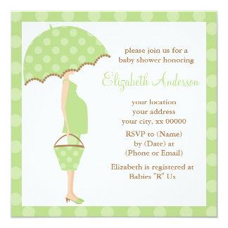 Green Polka Dots Umbrella Mom Baby Shower Card