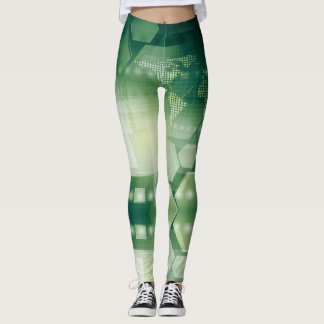 Green Polygen World - power Yoga put-went Leggings