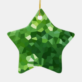 Green Polygon Shape Stained Glass Mosaic Abstract Ceramic Ornament