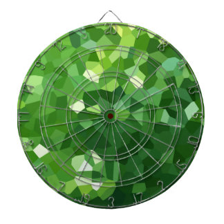 Green Polygon Shape Stained Glass Mosaic Abstract Dartboard