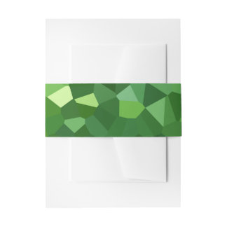 Green Polygon Shape Stained Glass Mosaic Abstract Invitation Belly Band