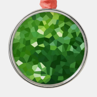 Green Polygon Shape Stained Glass Mosaic Abstract Metal Ornament