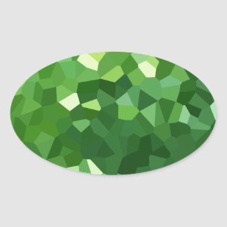 Green Polygon Shape Stained Glass Mosaic Abstract Oval Sticker