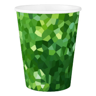 Green Polygon Shape Stained Glass Mosaic Abstract Paper Cup