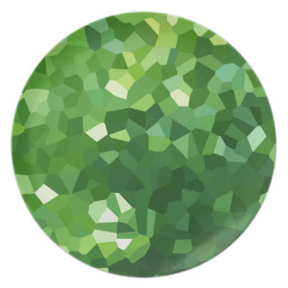 Green Polygon Shape Stained Glass Mosaic Abstract Plate