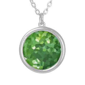 Green Polygon Shape Stained Glass Mosaic Abstract Silver Plated Necklace