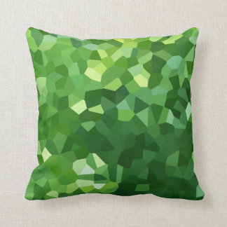 Green Polygon Shape Stained Glass Mosaic Abstract Throw Pillow