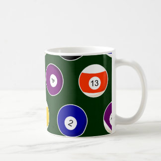 Green Pool Ball Billiards Pattern Coffee Mug