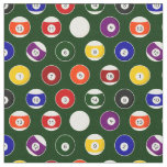 Green Pool Ball Billiards Pattern Small Repeat Fabric