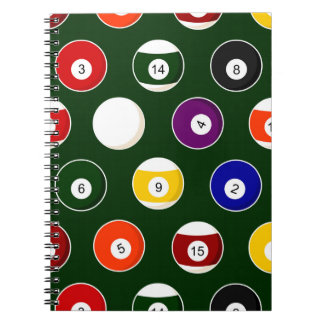 Green Pool Ball Billiards Pattern Spiral Note Book